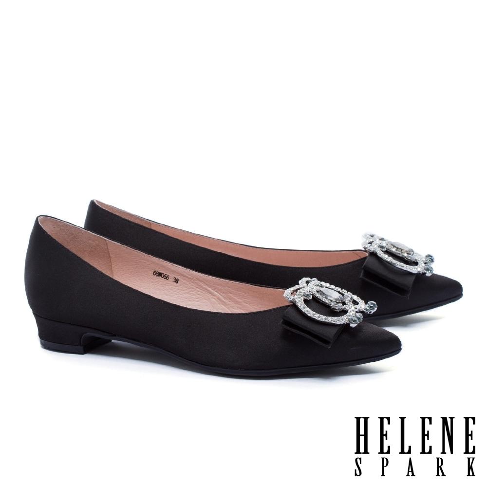 AS集團-  HELENE SPARK 華麗鑽釦緞布尖頭低跟鞋-黑 / 粉 / 藍