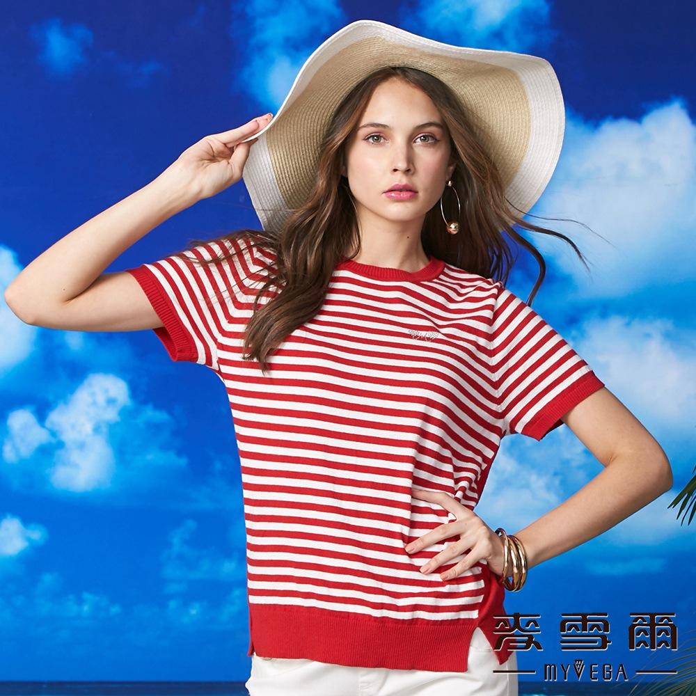 【麥雪爾】純棉水鑽蝴蝶結條紋針織衫-紅