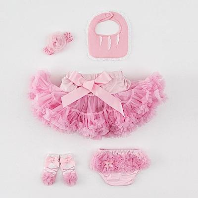 日安朵朵 女嬰童蓬蓬裙彌月週歲禮盒組 - 豪華小公主睡美人(裙+圍兜+屁屁褲+寶寶襪)