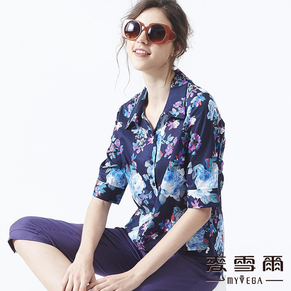 【麥雪爾】純棉法式優雅印花五分袖襯衫