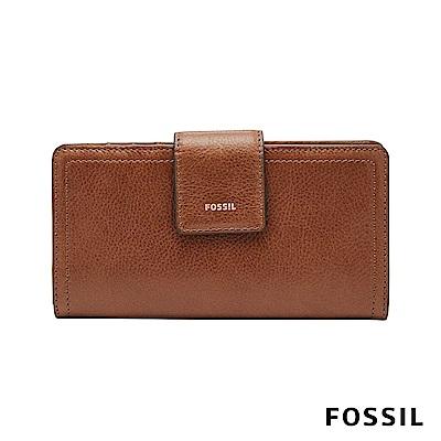 FOSSIL LOGAN 真皮系列拉鍊零錢袋設計中夾-咖啡色
