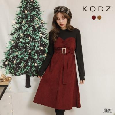 東京著衣-KODZ 韓妞推薦拼接假兩件附腰帶洋裝