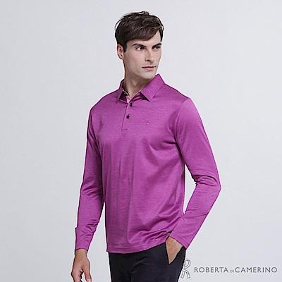 ROBERTA諾貝達 義大利進口 紳士品味 合身版 長袖POLO棉衫  紫紅