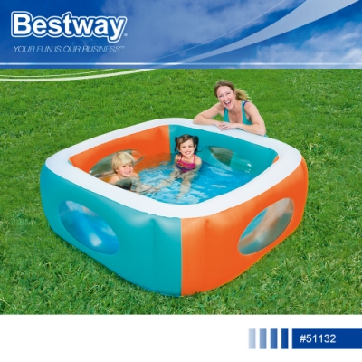 Bestway 51132家庭式充氣游泳池附修補片.親子休閒幼孩童成人方型大容量充氣水池