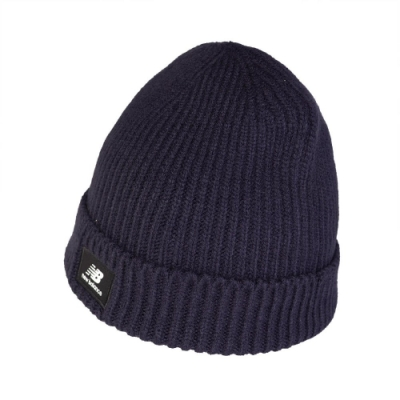 New Balance 毛帽 Logo Beanie 男女款 紐巴倫 保暖 穿搭 基本款 冬季必備 藍 白 LAH03013TNV