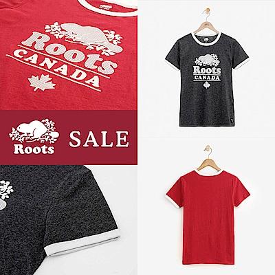 [時時樂限定]Roots女裝 - 溫馨佳節飾邊短袖T恤(2色)