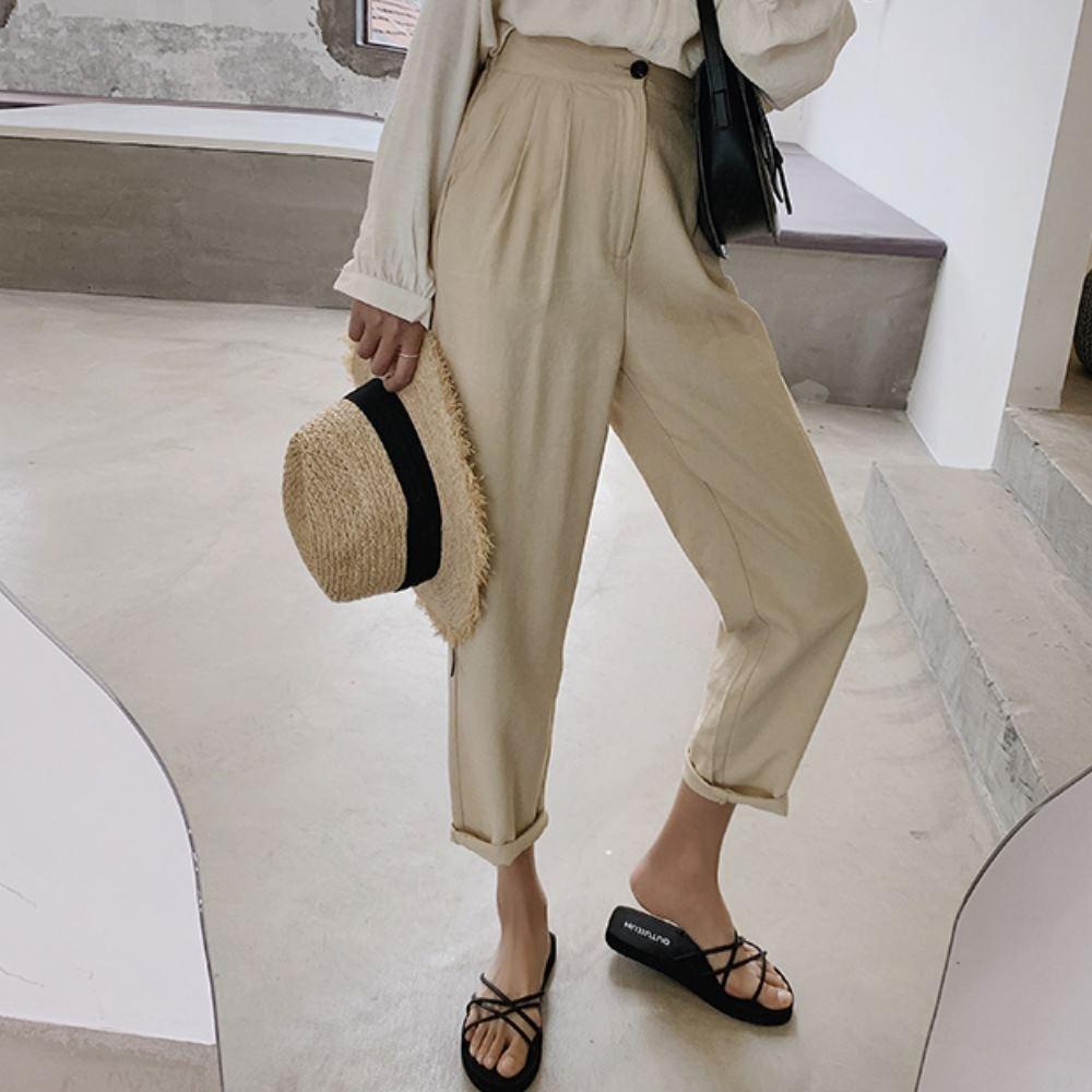 La Belleza素色鬆緊腰打摺中腰側口袋挺版哈倫褲