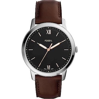 FOSSIL Minimalist 薄型簡約手錶(FS5464)-黑x咖啡/44mm