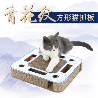 寵愛有家-大方型青花紋貓咪瓦楞多功能貓抓板(貓咪玩具)