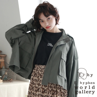 E hyphen 軍裝風格大口袋短版夾克外套