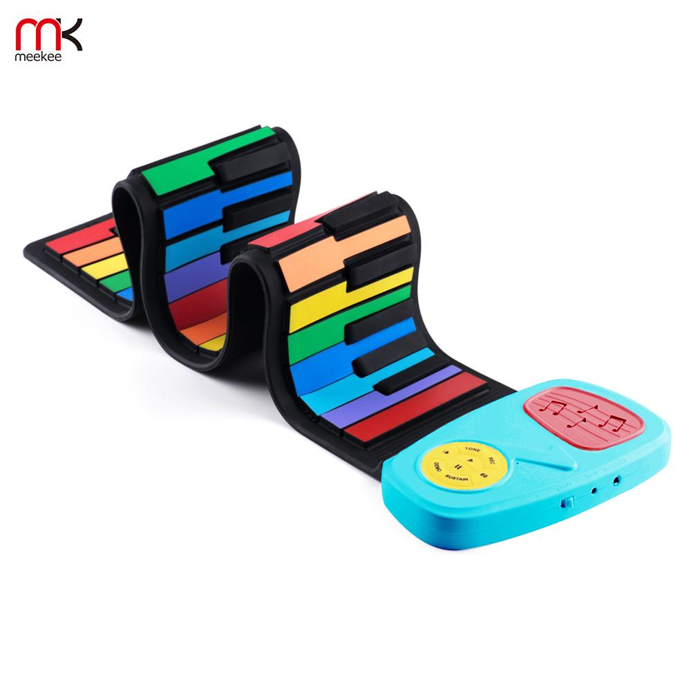 【meekee】攜帶型49鍵高音質手捲電子琴-彩虹琴鍵 (IP49)