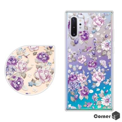 Corner4 Samsung Note 10+ 奧地利彩鑽雙料手機殼-紫薔薇