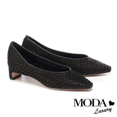 低跟鞋 MODA Luxury 簡約復古編織牛花皮低跟鞋-黑