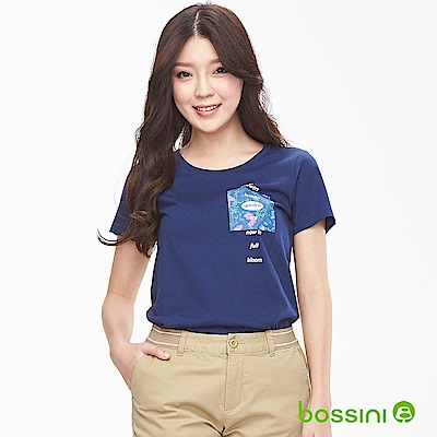 bossini女裝-印花短袖T恤12海軍藍