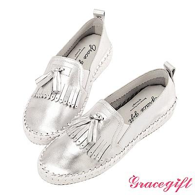 Grace gift-全真皮流蘇麻繩柔軟懶人鞋 銀