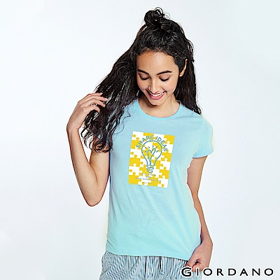 GIORDANO 女裝英文標語印花短袖T恤-67 酷藍