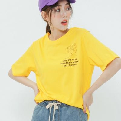 H:CONNECT 韓國品牌 女裝-夏日椰子樹圓領T-shirt-黃