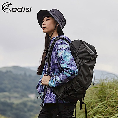 ADISI 女印花天鵝絨撥水防風保暖連帽外套AJ1821037【彩雲藍紫】