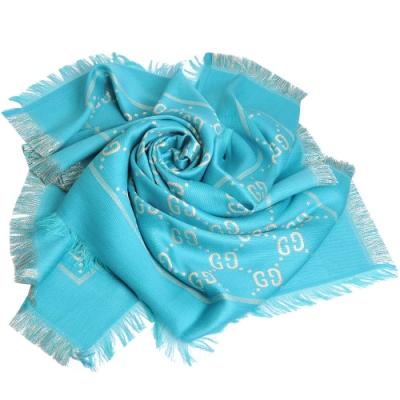 GUCCI J FREEDONINO 大GG圖騰羊毛絲棉混紡金蔥正方形圍巾(湖水藍/金)