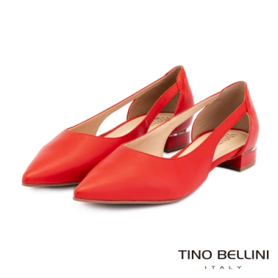 Tino Bellini巴西進口鞋身挖空線條平底鞋_紅