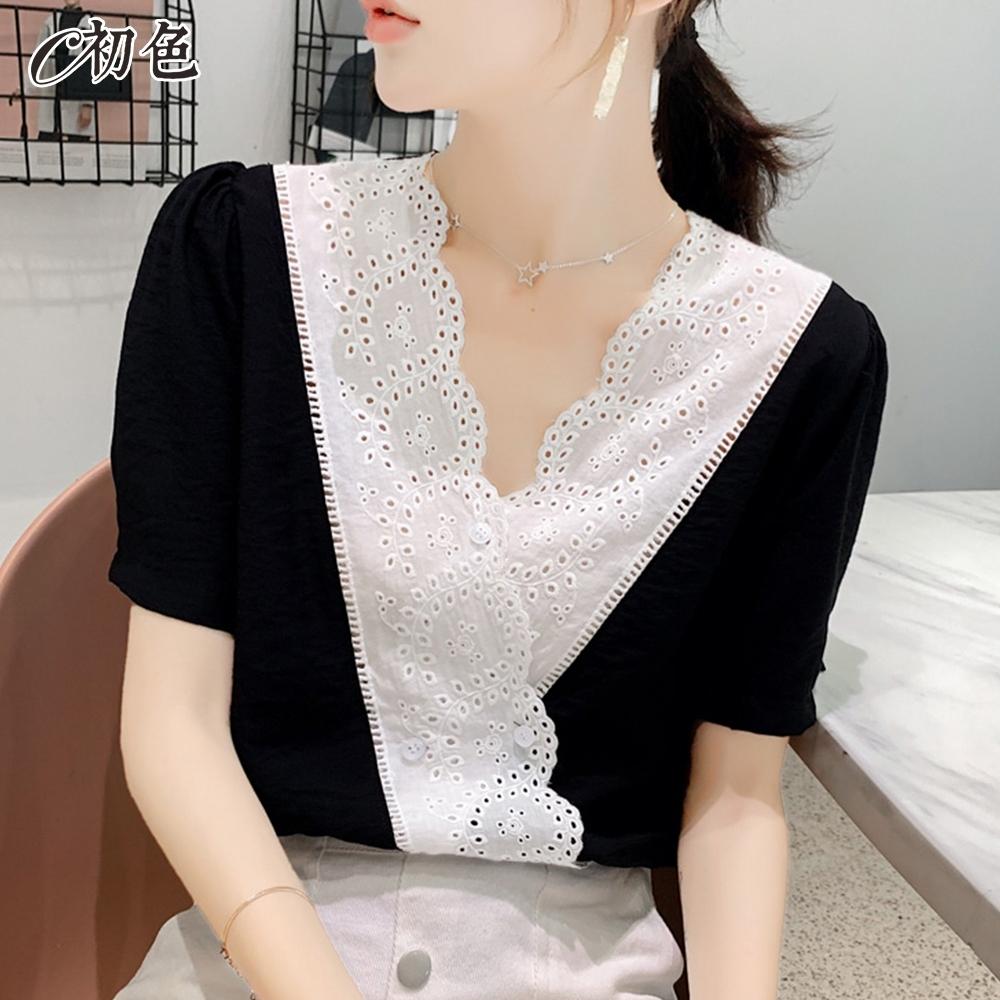 初色  花邊蕾絲V領雪紡衫-共2色-(M-2XL可選)