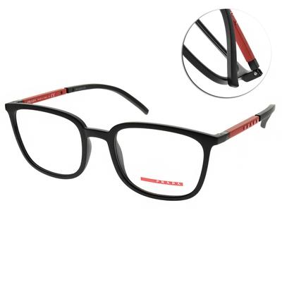 PRADA光學眼鏡 經典方框款/霧黑-紅 #VPS05N 1BO-1O1