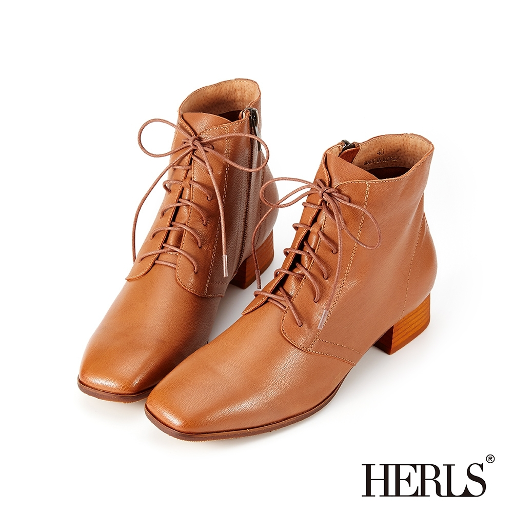 HERLS短靴-全真皮素面方頭綁帶低跟短靴-棕色