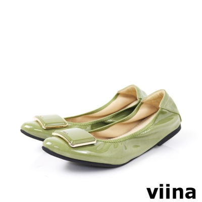 viina 尖頭鏡面烤漆金邊摺疊鞋-草綠