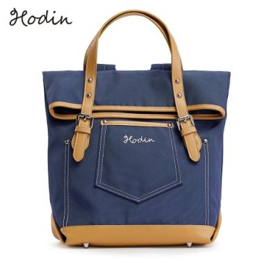【Hodin】Daily直筒牛仔帆布後背包(藍色151039BR)