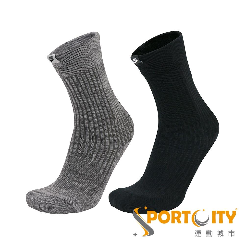 NIKE  中統襪 二入組 黑/灰 SX7169902
