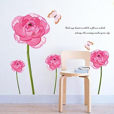 半島良品 DIY無痕壁貼-玫瑰蝴蝶 AY736 50x70cm
