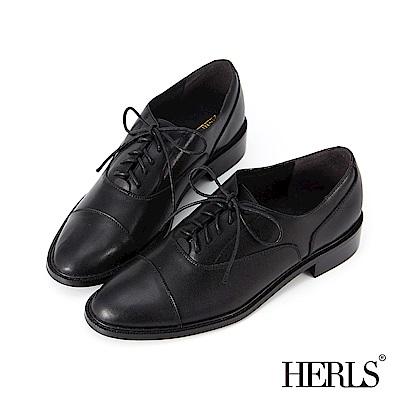 HERLS 簡潔俐落 全真皮基本款素面牛津鞋-黑色