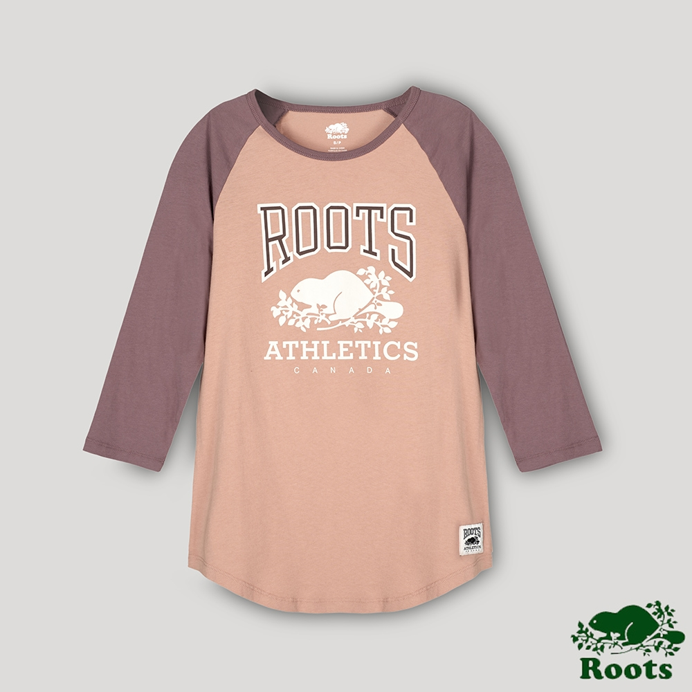 Roots 女裝- RBA 原創翻玩系列 經典LOGO棒球T恤-咖色
