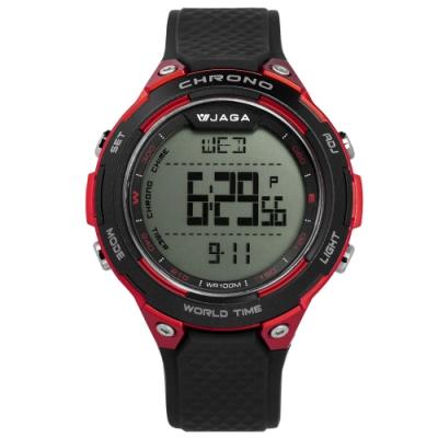JAGA 捷卡 電子運動 倒數計時 計時碼錶 鬧鈴 防水100米 橡膠手錶-黑紅/48mm