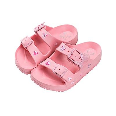 迪士尼童鞋 米妮 造型帶扣防水拖鞋-粉