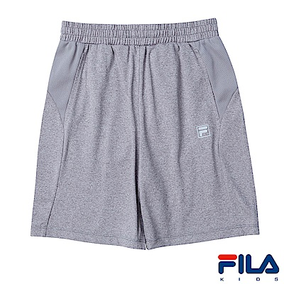 FILA KIDS 女童吸濕排汗短褲-麻灰 5SHS-4327-MY