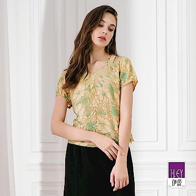 ILEY伊蕾 雙色花朵蕾絲造型上衣(金)