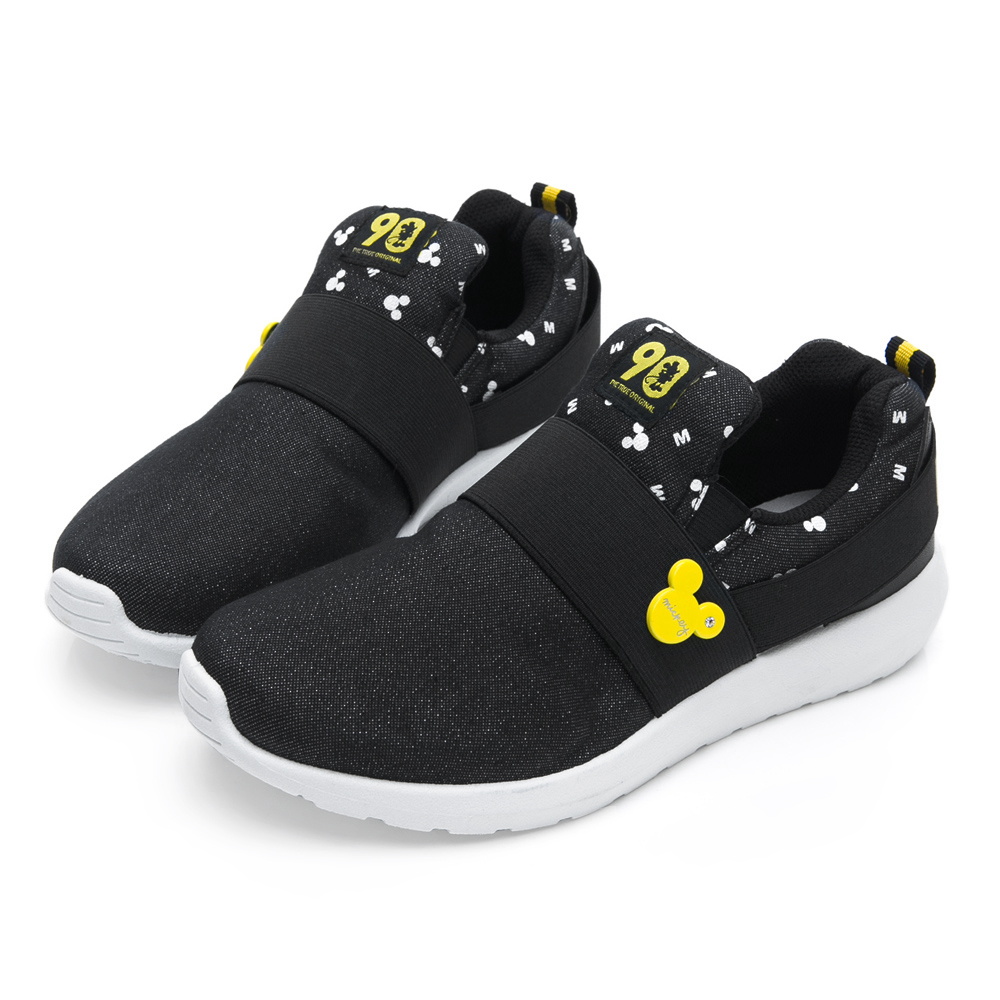 DISNEY 彈性繃帶亮蔥休閒鞋-黑-DW5138CC