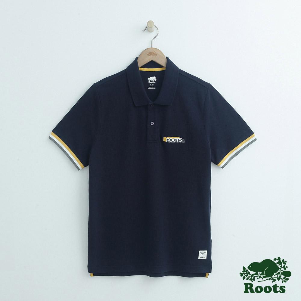 男裝Roots 左胸LOGO短袖POLO衫-藍