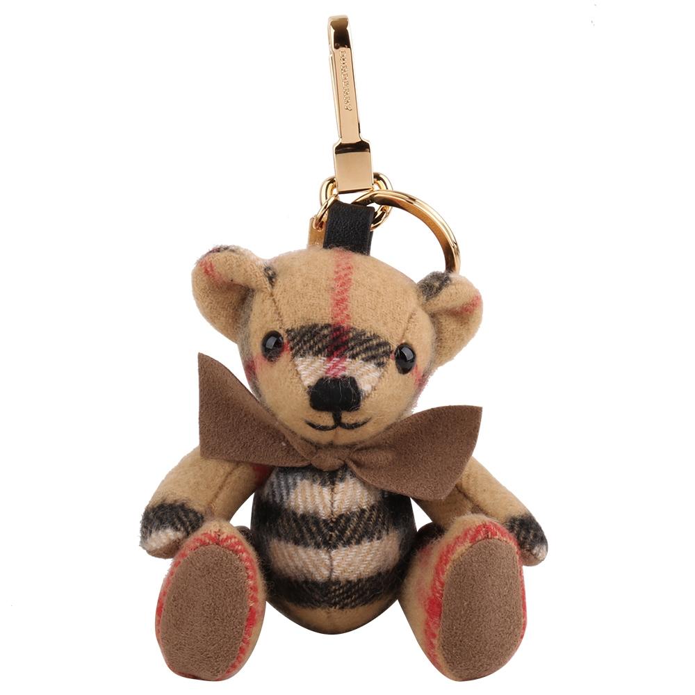 BURBERRY Vintage Thomas 蝴蝶結泰迪熊吊鑰匙圈(卡其X格紋)