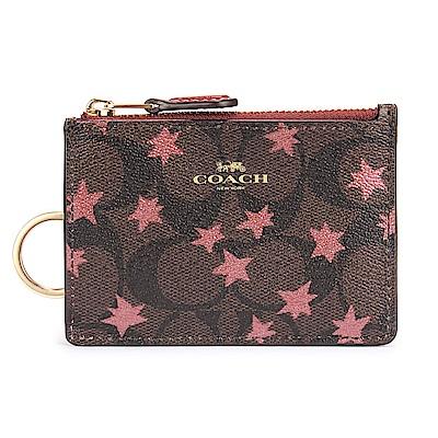 COACH 經典星星滿版LOGO PVC撞色防刮皮革證件夾零錢鎖包-粉紅/深咖色