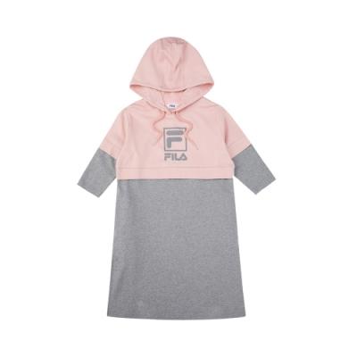 FILA KIDS #架勢新潮 女童八分袖長版帽T-粉/麻灰 5TEV-4411-PK