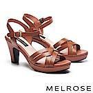 涼鞋 MELROSE 羅馬風格交叉造型牛皮美型高跟涼鞋-咖