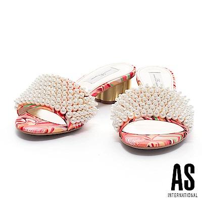 拖鞋 AS 夏日美艷珍珠設計一字帶印花布低跟拖鞋-桔