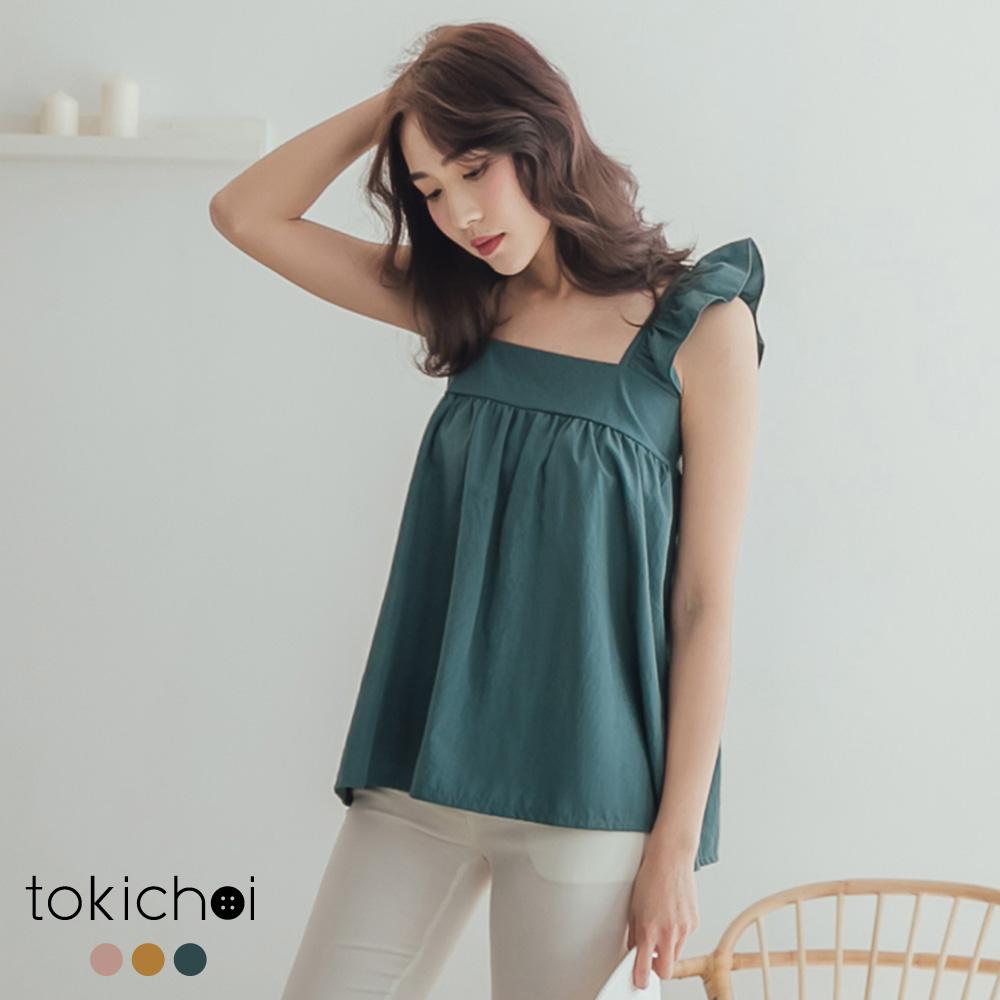 東京著衣-花樣年華荷葉肩帶多色素面背心-S.M.L(共三色)