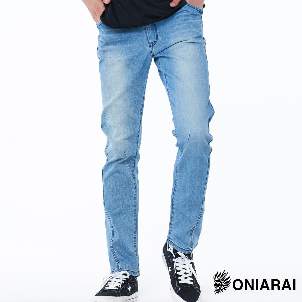 鬼洗 BLUE WAY –736超視覺立體剪裁低腰直筒褲(淺藍)