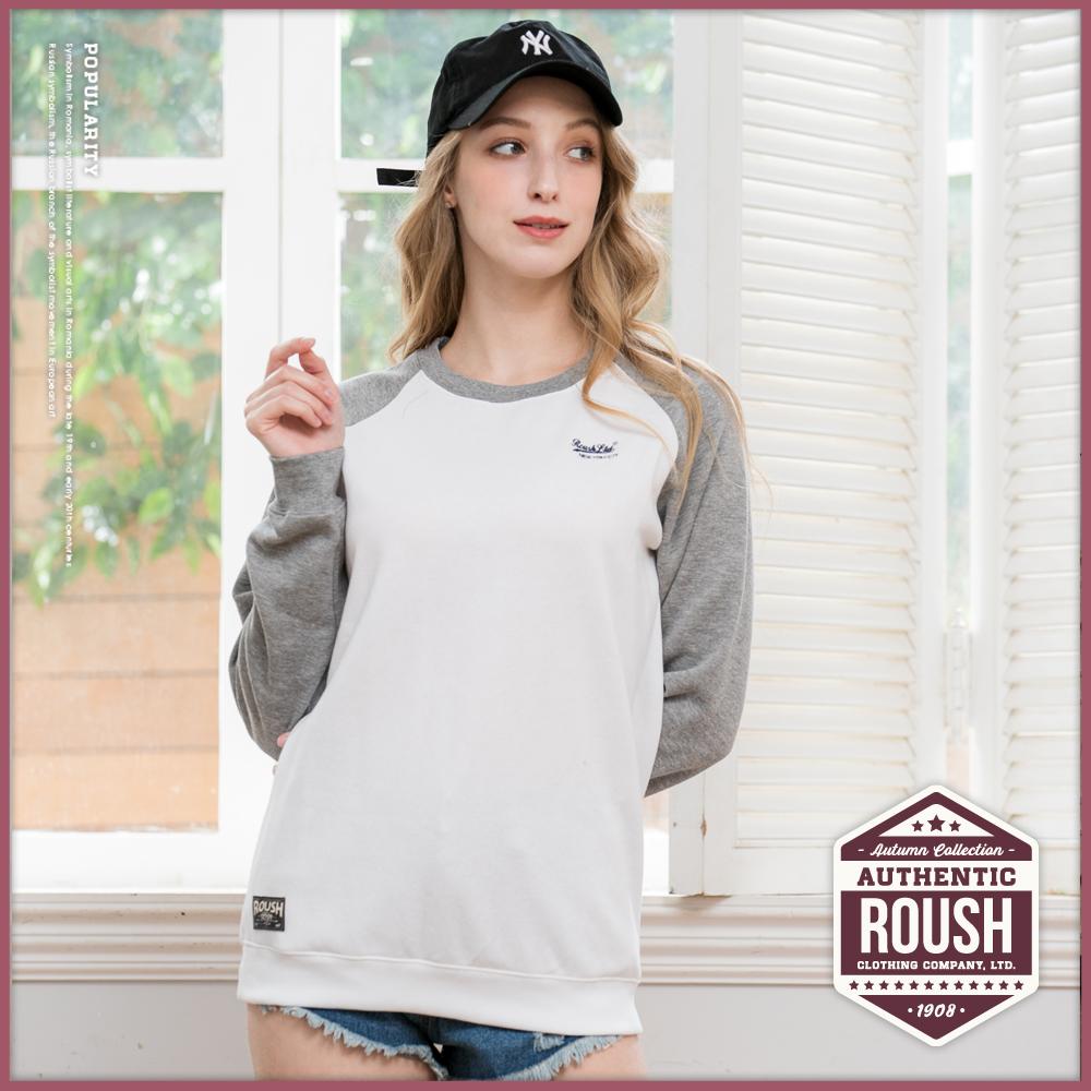 Roush 女生over size拉克蘭袖刷毛大學T(2色)
