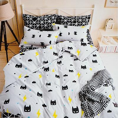 A-one 單人枕套床包組二件式 小蝙蝠  美肌磨毛 台灣製