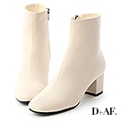 D+AF 俐落印象.素面車線中跟短靴*米白