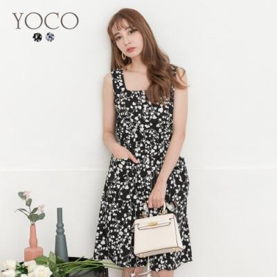 東京著衣-YOCO 甜美氣質排釦腰鬆緊印花無袖洋裝-S.M.L(共二色)